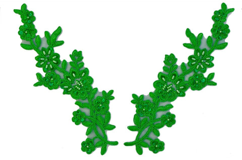 Kelly Green Pair Appliqués With Sequins And Beads