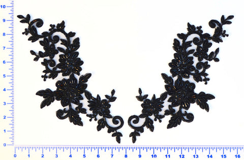 Large Beaded Appliqué Pair- Available in Black, White & Ivory