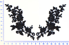 Large Beaded Appliqué Pair- Available in Black, White & Off White