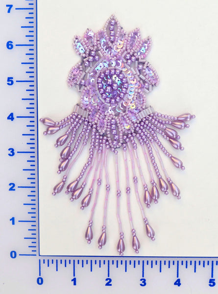 Lavender Sequin Beaded Appliqué With Dangles