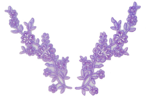Lavender Pair Appliqués With Sequins And Beads