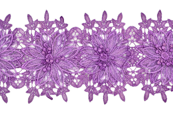 Orchid Metallic Lace & Organza Trim