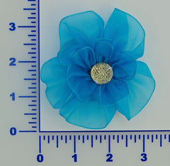 "3 1/2"" Organza Flower With Acrylic Rhinestone Center - 3 Colors Available - Individual or 6 Packs"