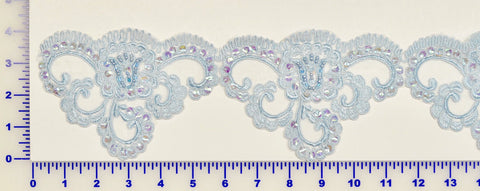 Light Blue Beaded Lace Trim With Sequins & Beads