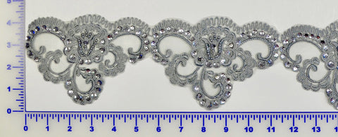 Silver Gray Beaded Lace Trim With Sequins & Beads