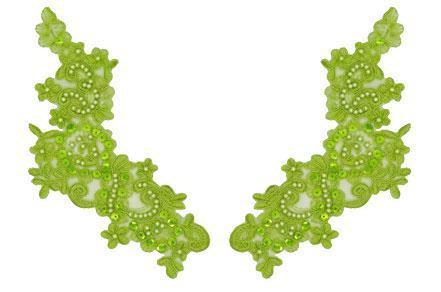 Apple Green Appliqué Pair With Sequins And Beads