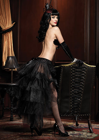 Black Long Tulle Bustle Skirt With Gathered Lace Front & Satin Bow