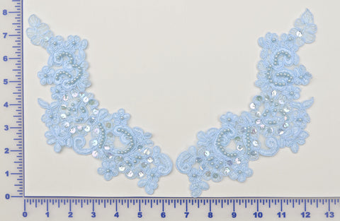 Lt. Blue Appliqué Pair With Sequins And Beads
