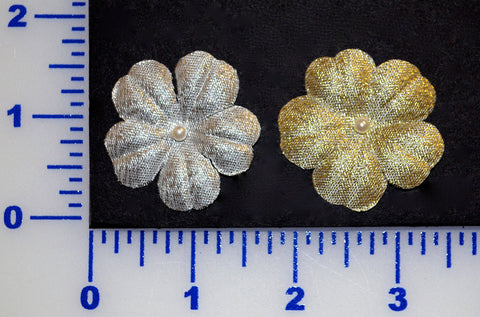 "1 5/8"" Metallic Petal Flower With 4mm Pearl Bead - 2 Colors - Pack of 12"
