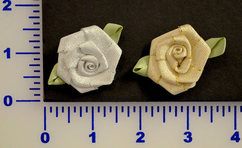 "1 3/8"" Metallic Ribbon Rose - 2 Colors - Pack of 12"