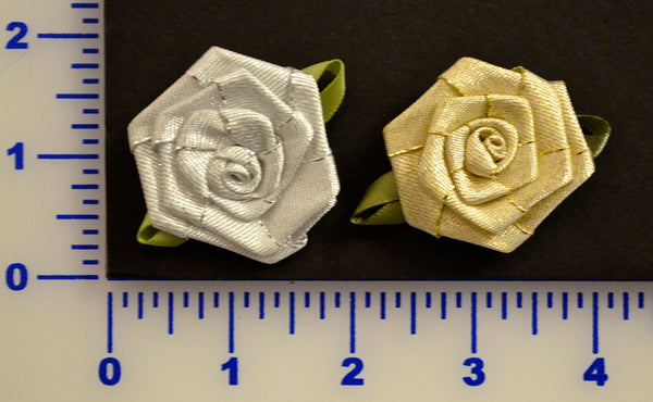 "1 3/4"" Metallic Ribbon Rose - 2 Colors - Pack of 12"