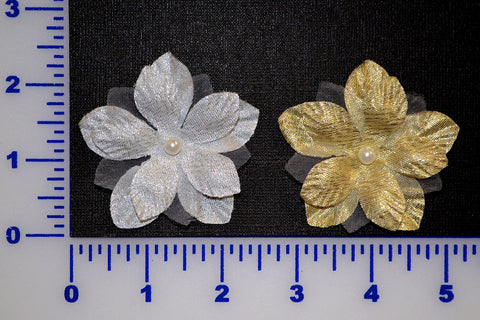 "2 1/2"" Metallic Flower With 6mm Pearl Bead - 2 Colors - Pack of 12"