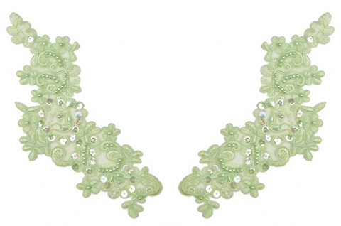 Mint Green Appliqué Pair With Sequins And Beads
