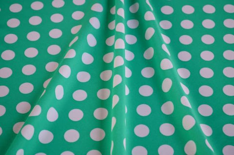 White Polka Dots On Mint Nylon Spandex