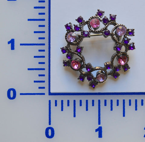 Round Rhinestone Brooch With Purple Lavender And Pink Crystals