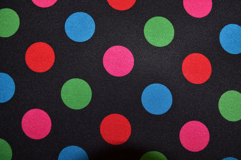 Multi Colored Polka Dots On Black Shiny Nylon Spandex