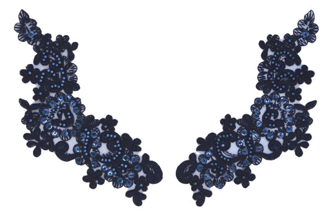 Navy Appliqué Pair With Sequins And Beads