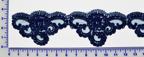 Navy Beaded Lace Trim With Sequins & Beads