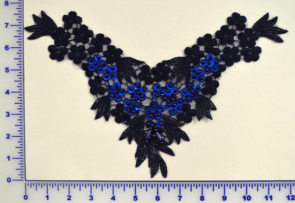 Navy Lace Appliqué With Sequins And Beads