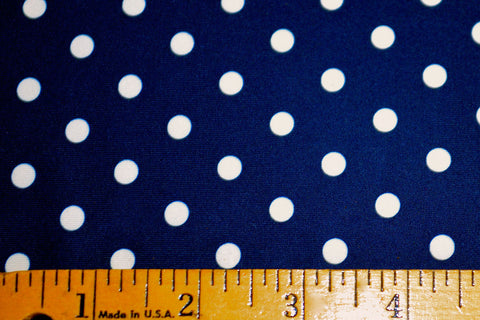 White Polka Dots On Navy Matte Nylon Spandex