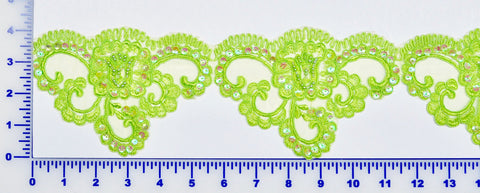 Lime Green Beaded Lace Trim With Sequins & Beads