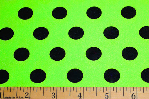 Black Foil Polka Dots On Neon Green Shiny Nylon Spandex