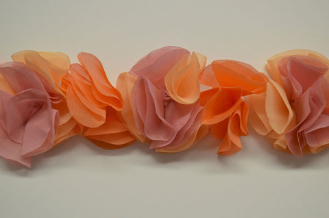 3 Color Flower Petal Trim On Mesh - Non Stretch