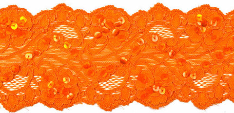 "2 1/2"" Stretch Lace w/Sequins - Orange"