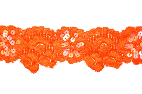 "2"" Stretch Lace w/Sequins - Orange"