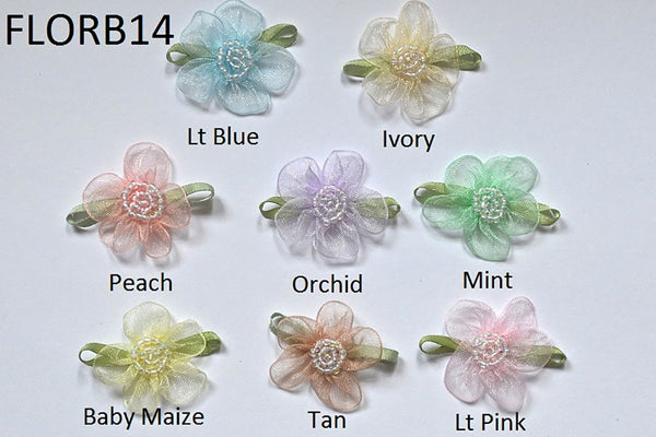 "1 1/4"" Beaded Organza Rose - 8 Colors Available - Packs of 12"