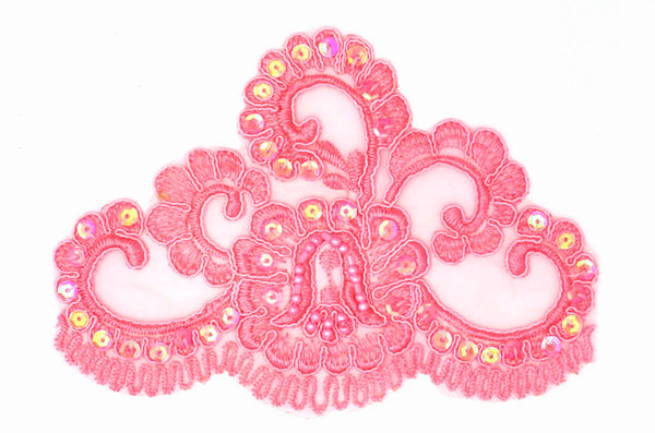 Pink Beaded Lace Appliqué