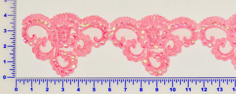 Pink Beaded Lace Trim With Sequins & Beads