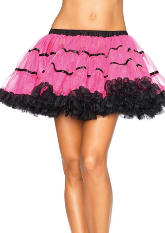 Layered Satin Striped Nylon Chiffon Petticoat - 5 Colors Available