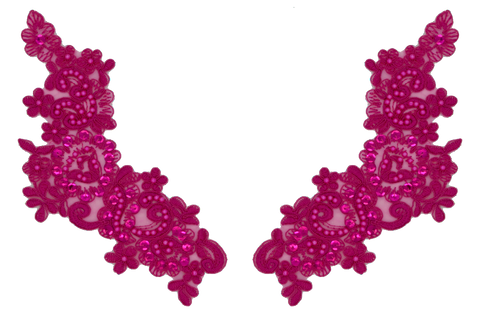Fuchsia Appliqué Pair With Sequins And Beads