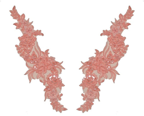 Pink Appliqué Pair With Sequins And Beads