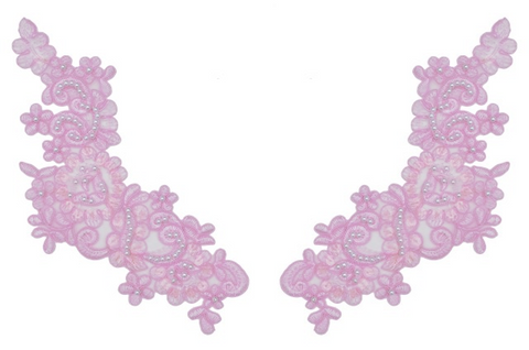 Light Pink Appliqué Pair With Sequins And Beads