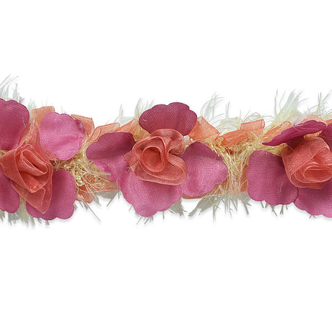 Pink & Tan Stretch Flower Trim