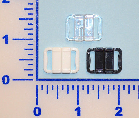 "1/2"" Clear, Black, or White Plastic Slide Clasp - 12 Pack"