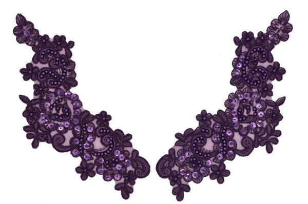 Plum Appliqué Pair With Sequins And Beads