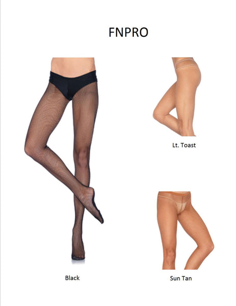 Professional Fishnet Tights w/ Confort Sole & Non-Roll Waistband - 3 Sizes Available - 3 Colors Available