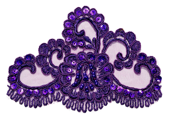Purple Beaded Lace Appliqué
