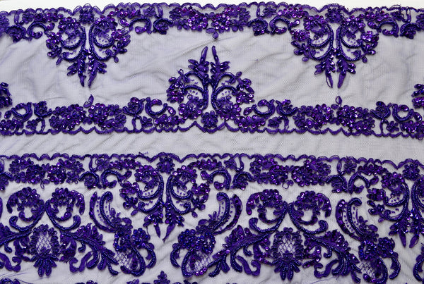 Purple Beaded And Sequin Corded Bridal Lace