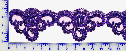 Purple Beaded Lace Trim With Sequins & Beads
