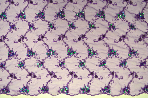 Purple Mesh With Embroidery Sequins & Beads - Border On Both Edges