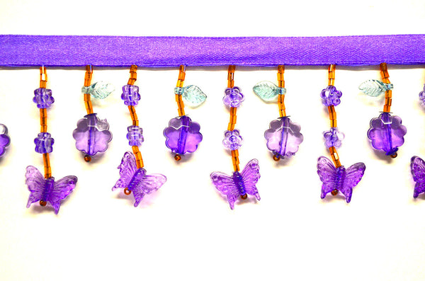 "2"" Purple Butterfly Beaded Fringe"