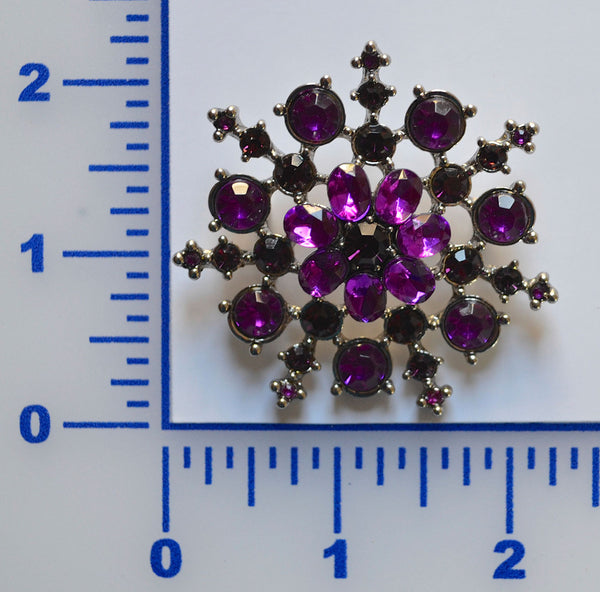 Purple Snow Flake Rhinestone Brooch