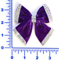 "3"" Velvet Bow With Rhinestone Trim - 7 Colors Available - Pack of 6"
