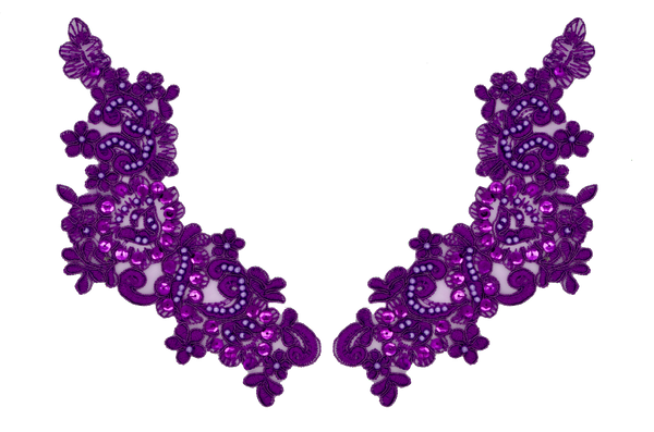 Purple Appliqué Pair With Sequins And Beads