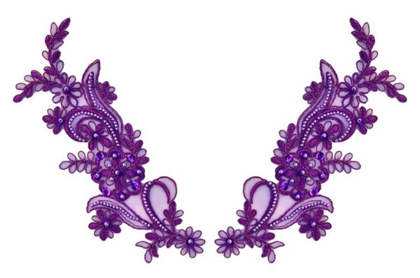 Purple Pair Appliqués With Sequins And Beads
