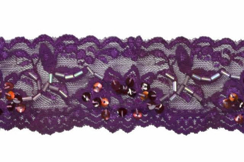 "Purple 2"" Stretch Lace w/Sequins & Beads"